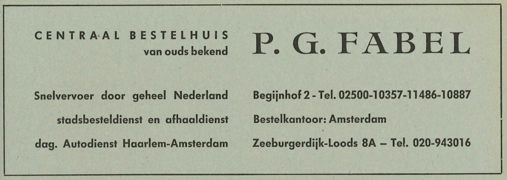 Advertentie P.G. Fabel