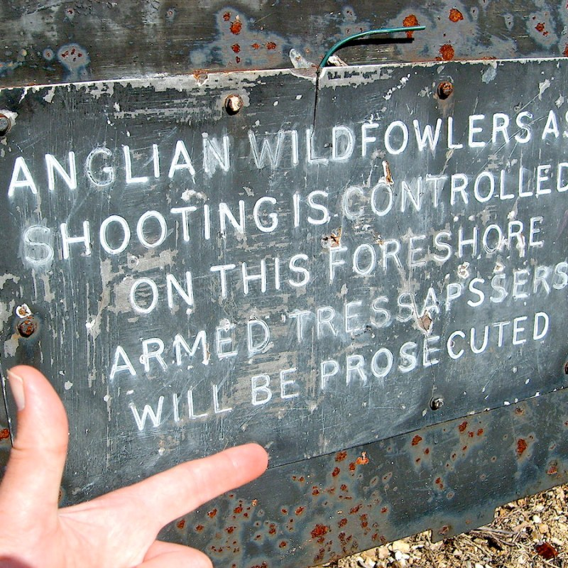 Bordje van de Anglian Wildfowlers Association